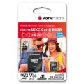 MicroSD карта AGFA PHOTO MicroSDHC 64GB HIGH SPEED  с адаптор за