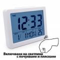 Електронен настолен часовник с гласов контрол термометър, часовн