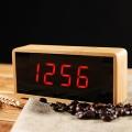 Часовник правоъгълен с бамбуков цвят, звуков сензор, темература,